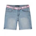 Toddler Girls Belted Denim Shorts