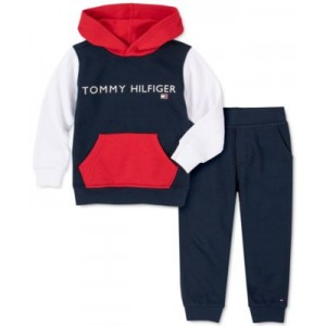 Baby Boys 2-Pc. Colorblocked Logo Hoodie & Solid Joggers Set