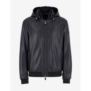 Armani Exchange HOODED FAUX LEATHER JACKET, Blouson Jacket for Men | A|X Online Store