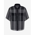 Armani Exchange STRIPED CHIFFON SHIRT, Printed Shirt for Women   A X Online Store