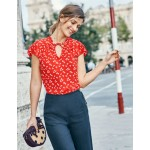 Angelica Top - Red Pop Daisy Cloud