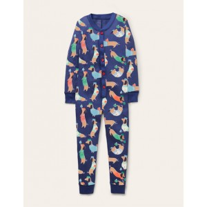 Cosy Sleep All-in-one Pajamas - Starboard Blue Sausage Dogs