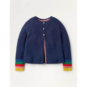 Cotton Cashmere Mix Cardigan - College Navy Rainbow