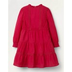 Lace Detail Woven Dress - Summer Berry Pink