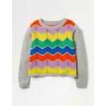 Rainbow Chevron Sweater - Grey Marl Rainbow