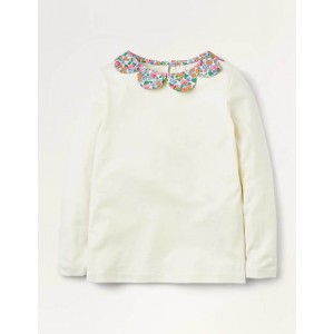 Woven Collar Jersey Top - Ivory/Vintage Floral