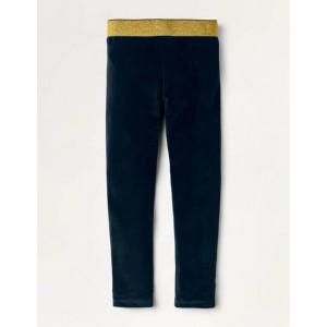 Sparkle Waist Velvet Leggings - Midnight Blue