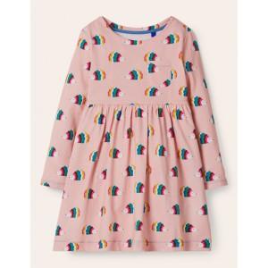 Long Sleeve Fun Jersey Dress - Multi Hedgehogs