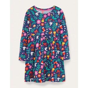 Long Sleeve Fun Jersey Dress - Starboard Blue Festive Floral