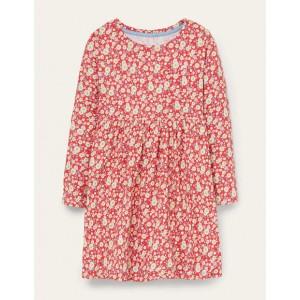 Long Sleeve Fun Jersey Dress - Cherry Tomato Vintage Daisy
