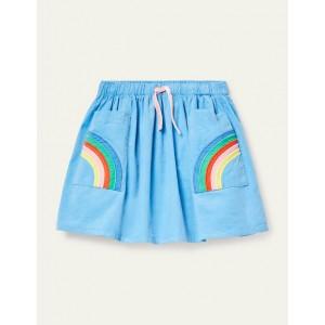 Rainbow Pocket Woven Skirt - Frosted Blue Rainbow