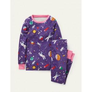 Cosy Long John Pajamas - Bijou Purple Space Adventure