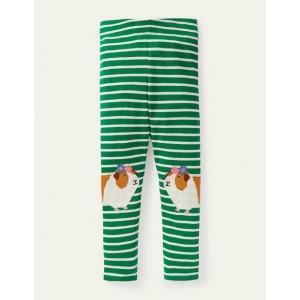 Fun Applique Leggings - Green/ Ivory Guinea Pigs