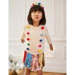 Rainbow Pompom Cable Sweater - Ecru Rainbow Pom Poms