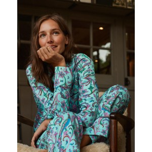 Janie Pajama Shirt - Frost, Fanciful Peacock