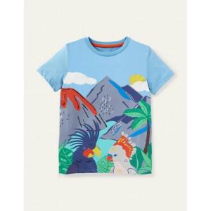 Tropical Scene T-shirt - Surfboard Blue Volcanic Birds