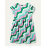 Fun Jersey Dress - Sapling Green Wave
