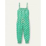 Jersey Tassel Tie Jumpsuit - Tropical Green