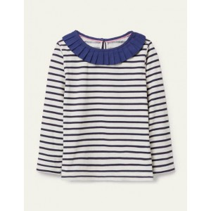 Pleated Collar Jersey Top - Ivory/ Starboard Blue