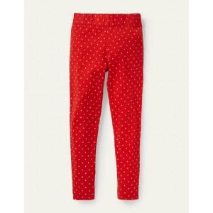 Fun Leggings - Fire Red / Ivory Pin Spot
