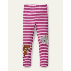 Fun Applique Leggings - Tickled Pink/ Ivory Cats