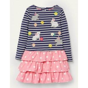 Embroidered Hotchpotch Dress - Pink Lemonade Bunnies