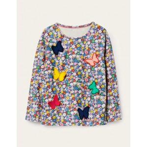 3D Flutter T-shirt - Blue Flowerpatch Butterflies