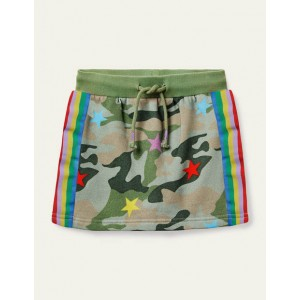 Cosy Sweatshirt Skirt - Khaki Camo Star