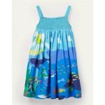 Smocked Sun Dress - Aqua Blue Reef Scene