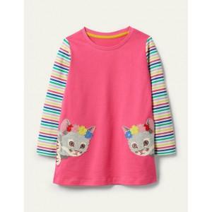 Applique Animal Tunic - Foxglove Pink Kittens