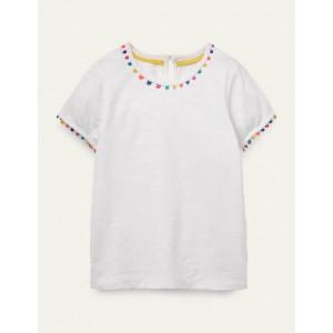 Charlie Pom Jersey T-shirt - White