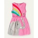 Safari Applique Dress - Plum Blossom Pink Elephant