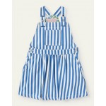 Woven Overalls Dress - Venice Blue Ticking Stripe