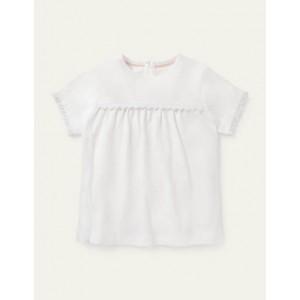 Daisy Trim Jersey Top - White