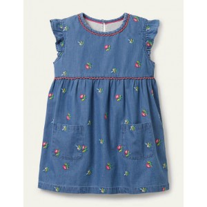 Embroidered Woven Tunic - Chambray Flowers