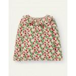 Jersey Ruffle Neck Top - Boto Pink Strawberry Ditsy