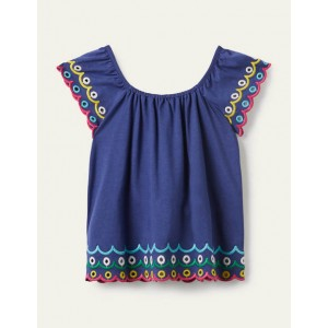 Scallop Detailed Top - Starboard Blue