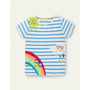 Stripy Applique T-shirt - Ivory/ Moroccan Blue Weather