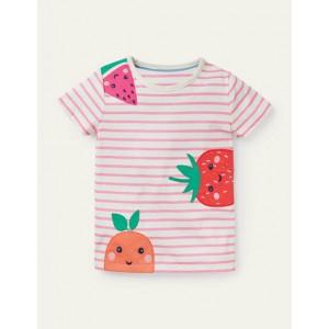 Stripy Applique T-shirt - Ivory/ Pink Lemonade Fruits