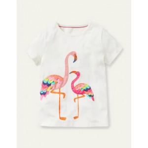 Charming Applique T-shirt - Ivory Flamingo