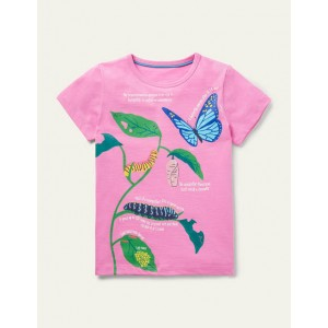 Fun Facts Graphic T-shirt - Plum Blossom Pink Butterfly