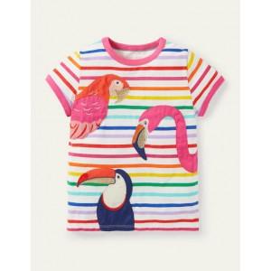 Animal Applique T-shirt - Multi Tropical Birds