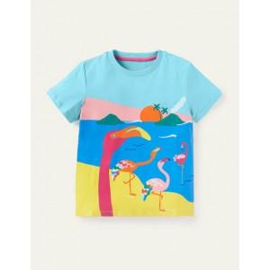Scene T-shirt - Georgian Blue Flamingo