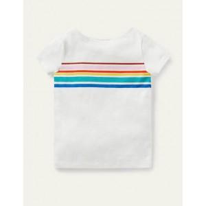 Short-sleeved Breton - Ivory/ Rainbow