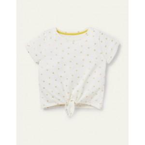 Tie-front T-shirt - Ivory/ Gold Foil Little Star