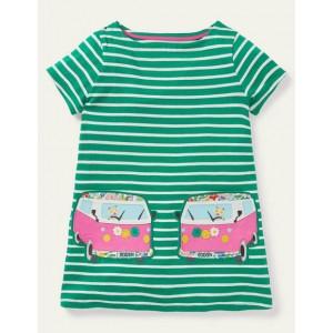 Summer Applique Pocket Tunic - Sapling Green/ Ivory Van