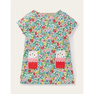 Summer Applique Pocket Tunic - Multi Ditsy Floral Ice Cream