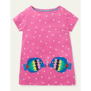Summer Applique Pocket Tunic - Tickled Pink Spot Fish