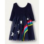 Velvet Bodice Tulle Dress - College Navy Rainbow