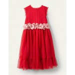 Floral Corsage Dress - Rockabilly Red